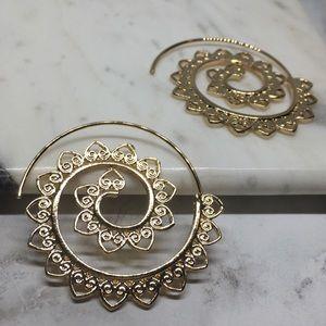 Jewelry - Summer Boho Gypsy Spiral Tribal Hoops Gold